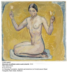 Cuno Amiet (1868–1961); Kniender Akt auf gelbem Grund; 1913