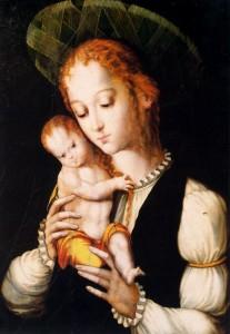 Puños, cabellos y sombrerete, la Virgen vive en la época del pintor
