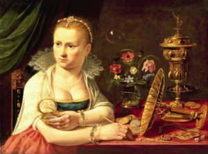 PFA69874 A vanitas portrait of a lady believed to be Clara Peeters by Peeters, Clara (1594-1659); 37.2x50.2 cm; Private Collection; Photo © Bonhams, London, UK; Netherlandish, out of copyright