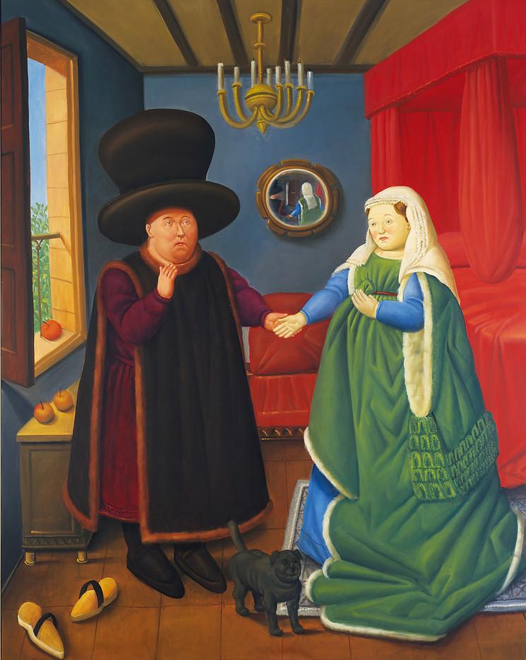 Botero reinterpreta El matrimonio Arnolfini de Jan van Eyck